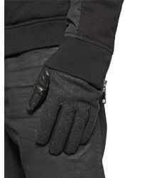 DIESEL Wool Felt & Nappa Leather Gloves - Gray