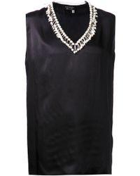 Lanvin Jeweled Neck Top - Lyst