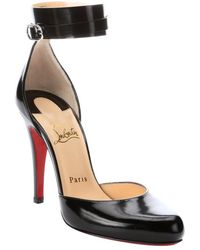 Christian Louboutin Black Patent Leather 'Bettina 100' Ankle Strap Pumps - Lyst
