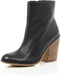 River Island Black Leather Stacked Heel Boots - Lyst