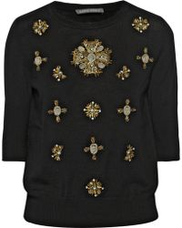 Alberta Ferretti Embellished Wool Sweater - Lyst