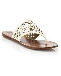 Tory Burch Logo Lattice Leather Thong Sandals - Lyst