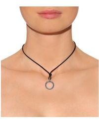Roberto Marroni Matte Oxidized Silver Circle Pendant Necklace With Gray Diamonds
