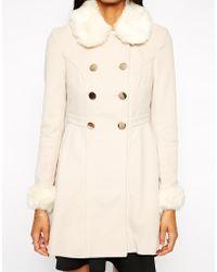 Lipsy - Faux Fur Princess Coat - Lyst