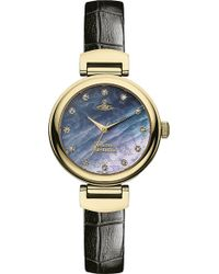 Vivienne Westwood Vv128Gdbk Leather And Mother-Of-Pearl Hampton Watch - For Women - Lyst