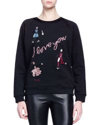 Lanvin - I Love You Crystal-Embroidered Sweater - Lyst