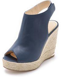 Paloma Barceló Slingback High Wedge Sandals - Navy - Lyst