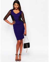 Sugarhill Tiffany Dress With Lace Sleeves - Blue