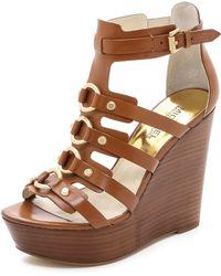 MICHAEL Michael Kors Nadine Wedge Sandals - Luggage - Lyst