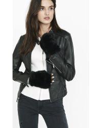 Express Black Faux Fur Fingerless Gloves