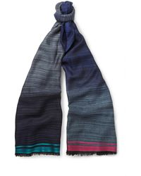 Paul Smith Striped Lightweight Woven Scarf - Lyst