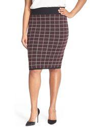 Halogen - Windowpane Check Knit Pencil Skirt - Lyst