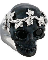 Alexander McQueen Small Ivy Skull Plexi Ring - Lyst