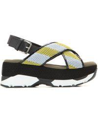 Marni Mesh Flatform Sandals yellow - Lyst