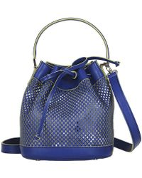 Alexandra De Curtis Blue Perforated Leather Mini Bucket Bag blue - Lyst