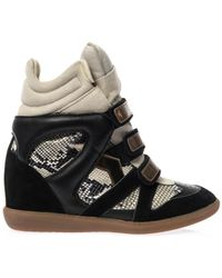 Isabel Marant Bonny Suede and Leather Wedge Trainers - Lyst