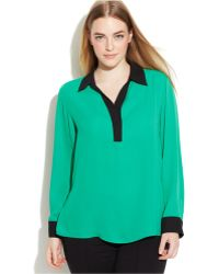 Calvin Klein Plus Size Long-Sleeve Contrast-Trim Blouse - Lyst