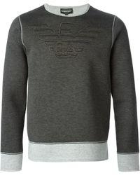 Emporio Armani Two-Tone Logo Sweatshirt - Lyst