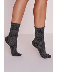 Missguided Sparkly Ankle Socks Silver - Metallic