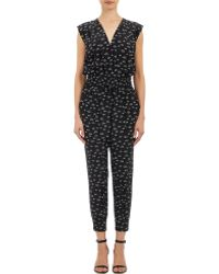 Band of Outsiders V-Neck Cropped Snail-Print Jumpsuit - Black