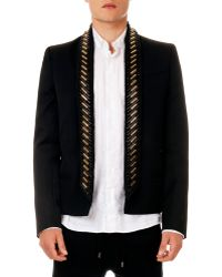 Balmain Embellished Shawl Collar Short Jacket - Lyst