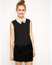 Asos Sleeveless Top With Embellished Collar - Lyst