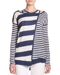 Tess Giberson Striped Wrap Sweater - Lyst