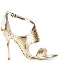Pollini Metallic Strappy Sandals - Lyst
