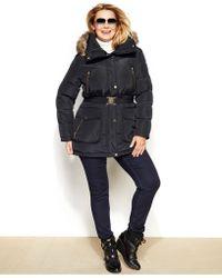 Michael Kors Michael Plus Size Hooded Faux-Fur-Trim Down Puffer Coat - Gray