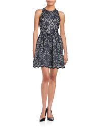 Lord + Taylor Halter Lace Fit-and-flare Dress - Blue