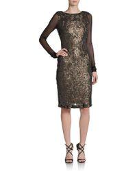 Vera Wang Meshsleeve Sequin Cocktail Dress - Lyst