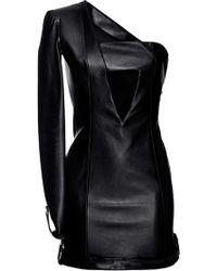 Anthony Vaccarello One Sleeve Leather Dress - Black