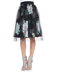 Milly Monica Floralprinttulle Skirt Pale Mint 0 - Lyst
