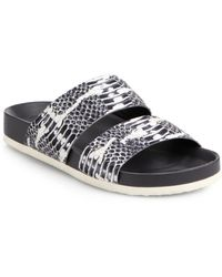Vince Orion Snake-Print Leather Sandals - Lyst