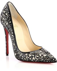 Christian Louboutin So Pretty Cutout Patent Leather Suede  Glitter Pumps - Lyst