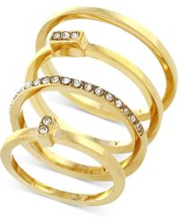 Vince Camuto - Gold-tone Set Of 4 Crystal Pavé Stack Rings - Lyst