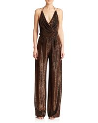 Kempner Sienna Metallic Knit Jumpsuit gold - Lyst