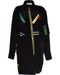 Preen Silk Crepe Rupert Coat in Black - Lyst