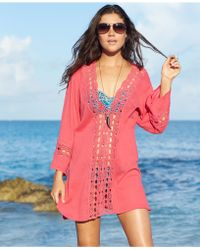 La Blanca Crochet-Trim Tunic Cover Up - Lyst