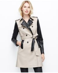 Ann Taylor Beige Edgy Trench - Lyst