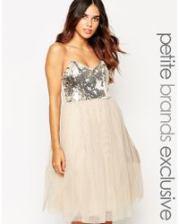 Little Mistress Sequin Bandeau Prom Dress - Natural