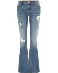 River Island Mid Wash Distressed Brooke Flare Jeans - Lyst