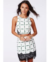 Missguided Jazmina Grid Print Crop Top Green - Lyst