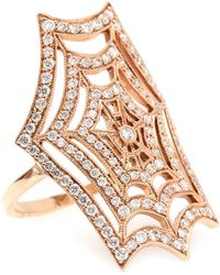 Stone Paris - 18kt Rose Gold Spider Spirit Ring With White Pavé Diamonds - Lyst