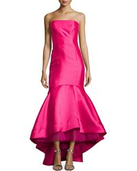 ML Monique Lhuillier Strapless High-Low Mermaid Gown - Lyst