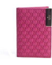 Gucci Fuchsia Ssima Leather Card Holder - Lyst