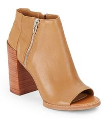 Dolce Vita Mercy Leather Open-toe Ankle Boots - Natural