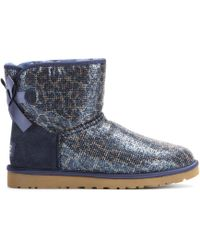 Ugg Mini Bailey Bow Glitter Boots - Lyst