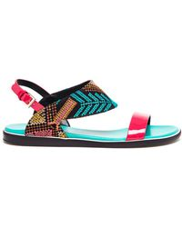 Nicholas Kirkwood Leather And Embroidered Sandals - Lyst