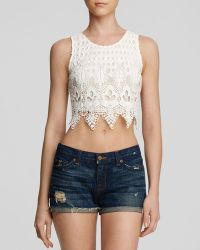Lush Top - Lace Cropped Shell - Lyst